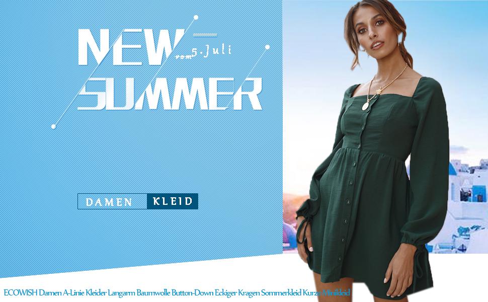 ECOWISH Damen A-Linie Kleider Langarm Baumwolle Button-Down Eckiger ... 6f62c252b7