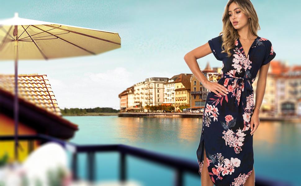ECOWISH Sommerkleider Damen Kurzarm V-Ausschnitt Strand ...
