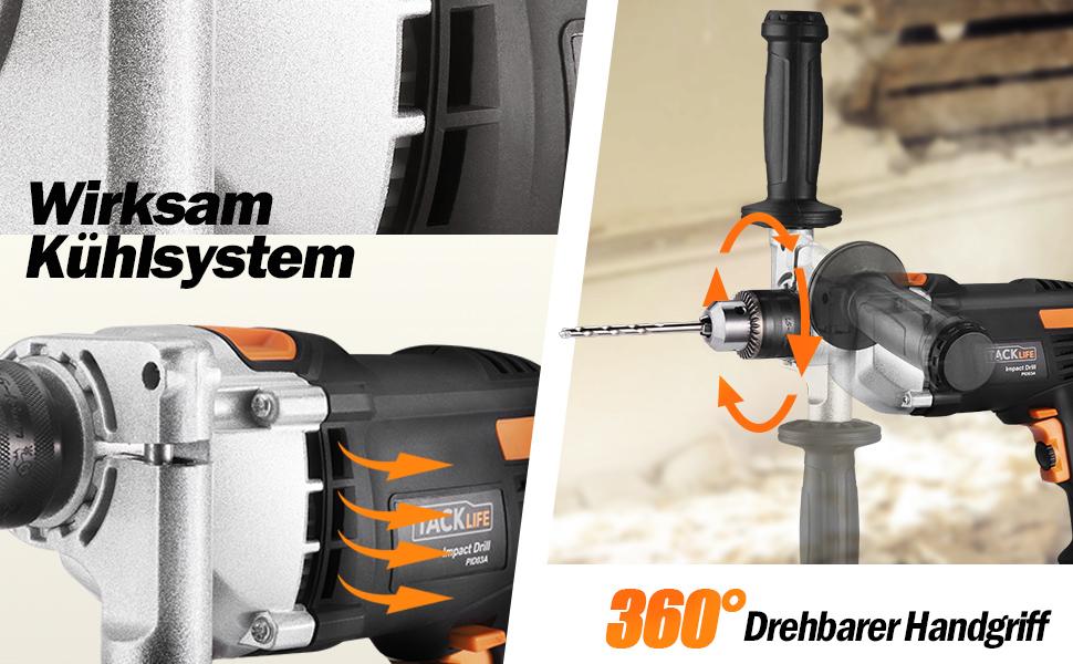 Aluminiumgeh/äuse Terratek Pro 1050W 3000 RPM Schlagbohrmaschi Schlagbohrmaschinen verstellbarer Zusatzhandgriff