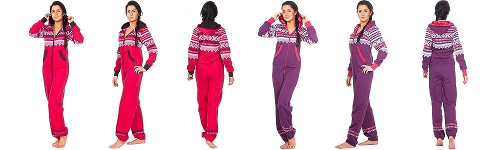 Loomiloo/® Jumpsuit Onesie Overall als Freizeitanzug Overall Hausanzug Einteiler Strampler Trainingsanzug Pyjama mit Norweger Muster f/ür Damen und Herren VIELE Farben