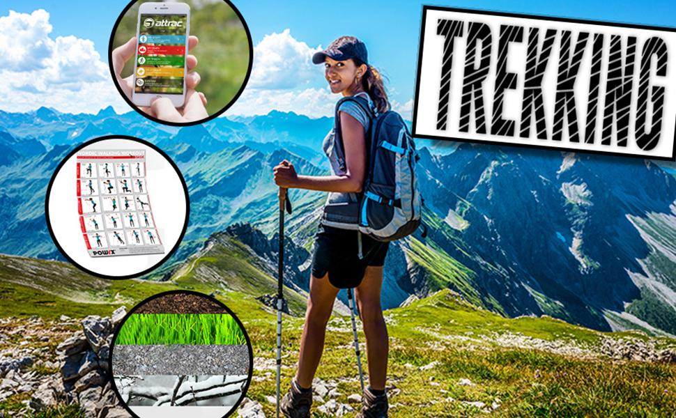 GRATIS Nordic Walking Fitness App ATTRAC Teleskop Wanderst/öcke mit Stativ I Trekkingst/öcke Carbon Ultra leicht f/ür Fotos I Verstellbar zwischen 66-160 cm I Inkl