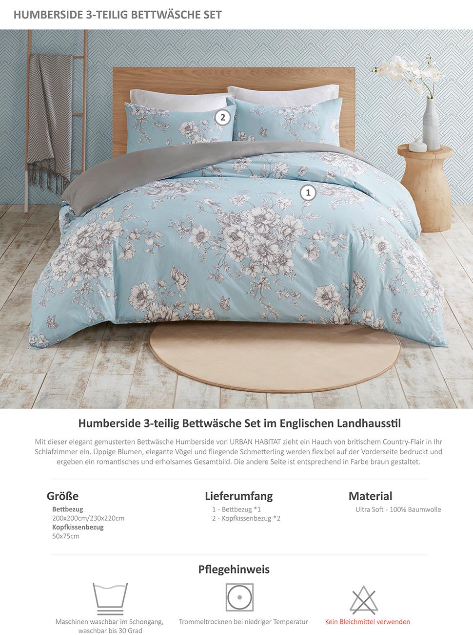 Scm Bettwäsche 230x220cm Blau Blumen 3 Teilig Bettbezug