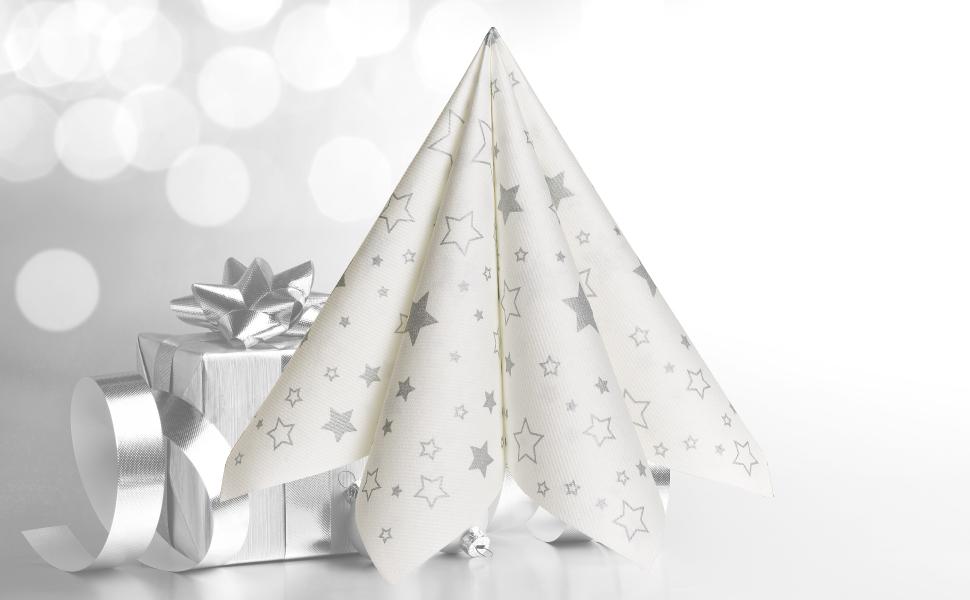 GRUBly Servietten Weihnachten Sterne Silber (Winter Limited Edition ...