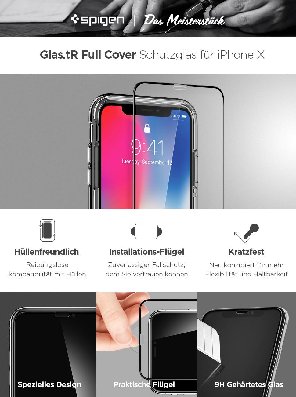Spigen iphone xs x panzerglas