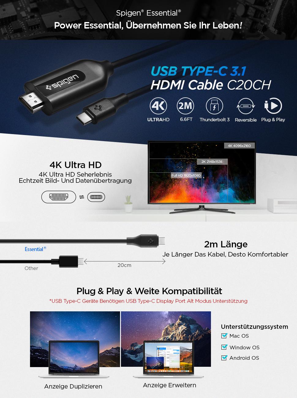 Spigen Essential C20CH USB Type C 3.1 to HDMI Kabel 2m: Amazon.de ...