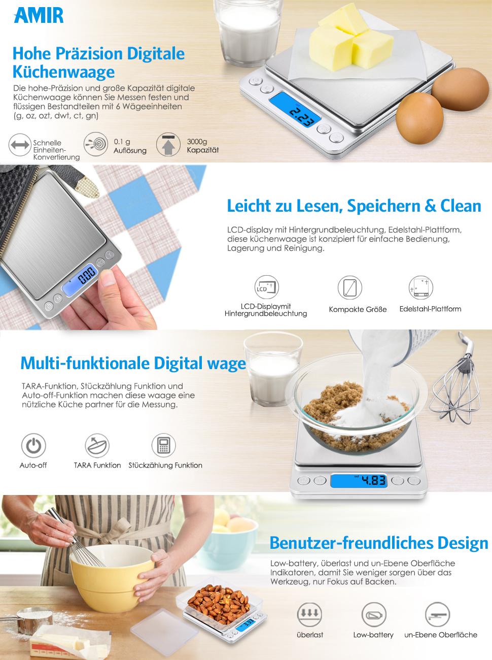 AMIR Digitale Küchenwaage, 3kg x 0, 1g Digitalwaage Waage, Hohe ...