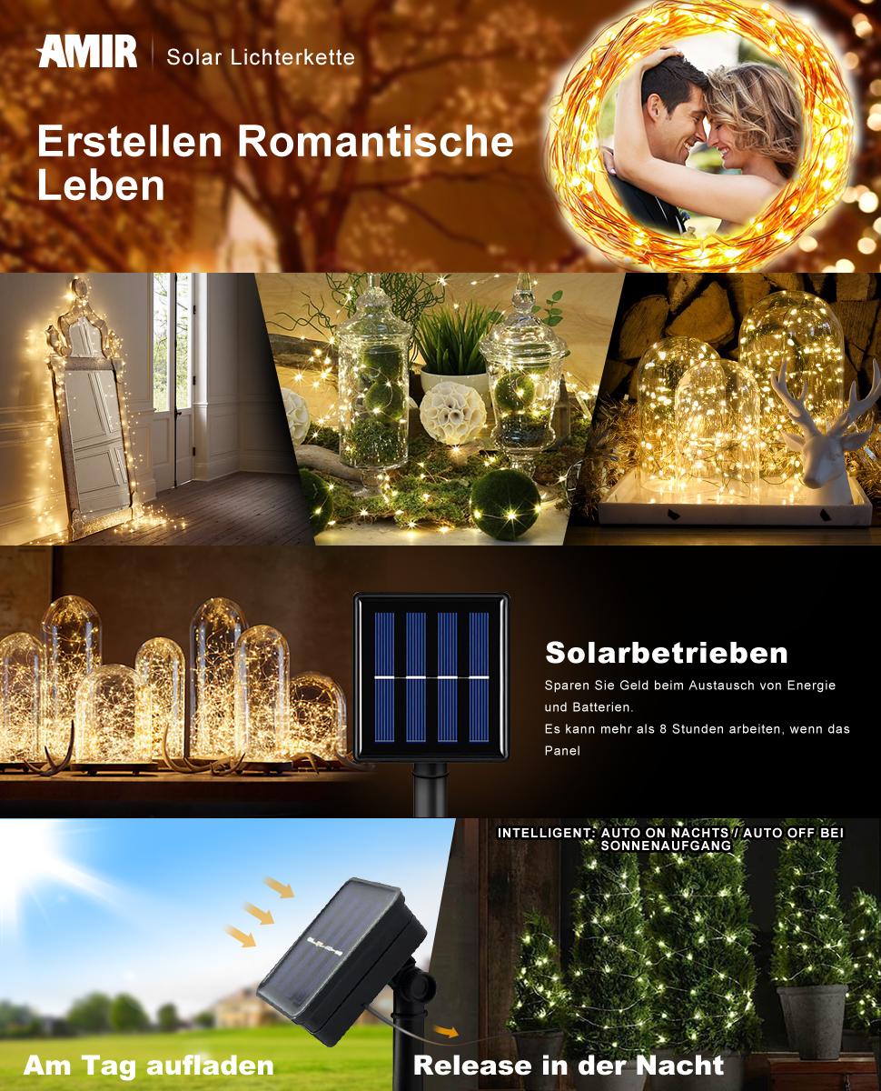 Amazon.de: AMIR Solar Lichterkette, 33ft 100 LED Solar Lichterkette ...