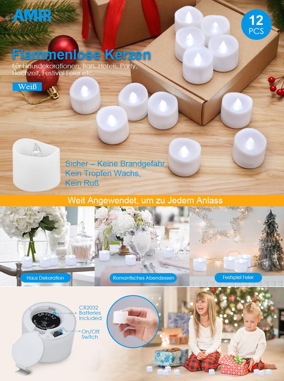 AMIR LED Kerzen, 12 LED Flammenlose Kerzen, Weihnachten LED ...