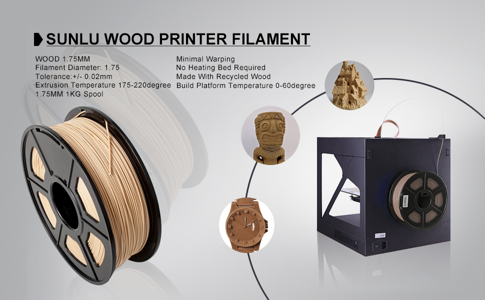 SUNLU Wood Filament - 1.75 mm 3D Drucker Filament, 1kg Spule (2.2 ...