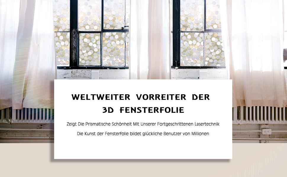Rabbitgoo anti uv 3d statisch haftend fensterfolie - Fensterfolie statisch anbringen ...