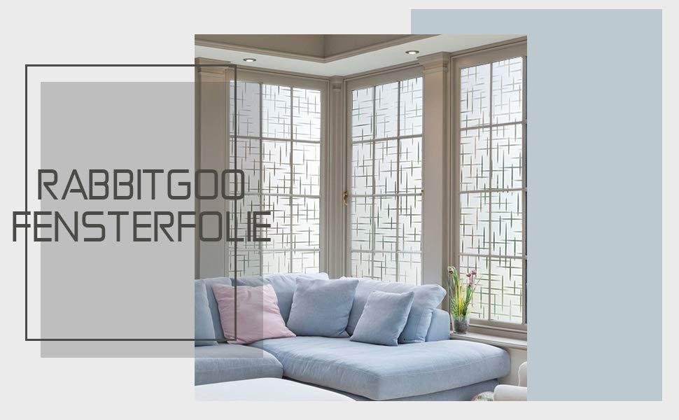 Rabbitgoo Fensterfolie Streifen Sichtschutzfolie Selbstklebend