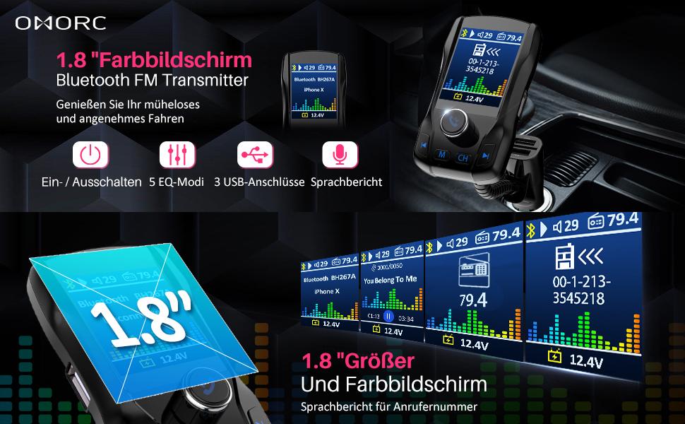 """OMORC FM Transmitter, Bluetooth fm transmitter auto bluetooth mit 1.8 """"großer TFT-Farbbildschirm"""