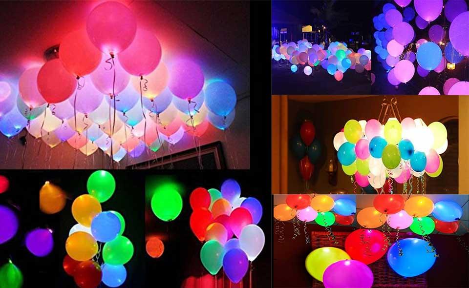 Colleer 30 PCS LED leuchtende Luftballons Bunt schöne