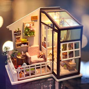 Holzhandwerk fü DIY Modellbau Miniaturbau ROBOTIME Puppenhaus Gartenmöbel