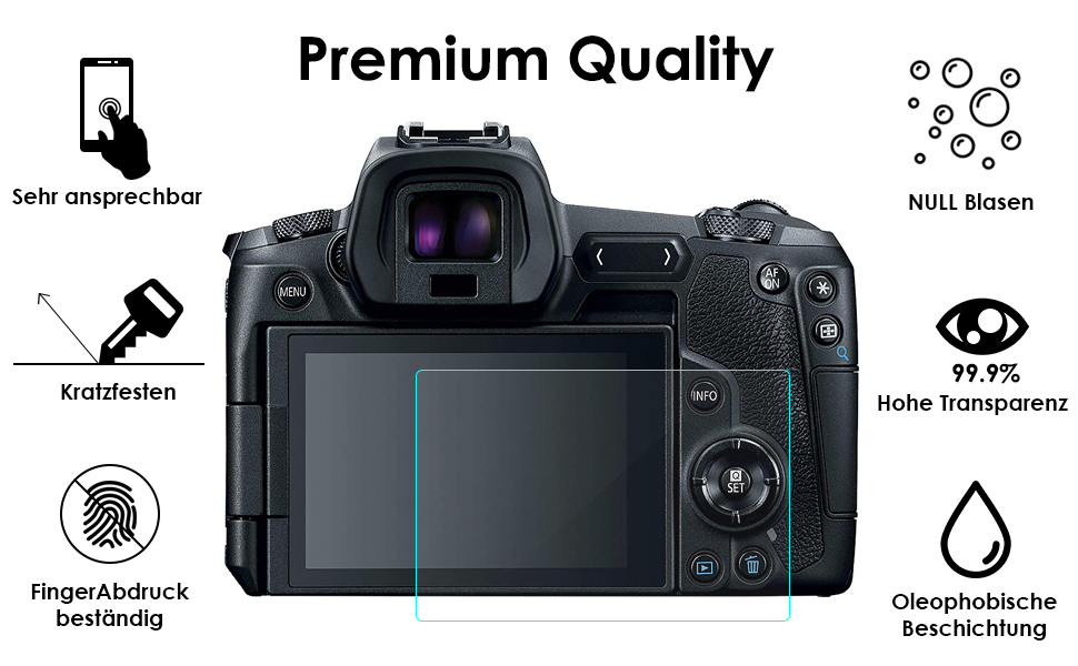 9H H/ärte 2 St/ück Schutzfolien f/ür DSLR-Digitalkamera FUNTA Displayschutzfolien kompatibel EOS R Kamera Kratzfest geh/ärtetes Glas