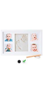 Espresso Baby Shower Geschenk Baby Bilderrahmen M/ädchen keine Schimmelbildung Erinnerungsrahmen f/ür Neugeborene Baby Handabdruck Set Tolles Geschenk f/ür kleine Jungs Baby Fu/ßabdruck Set