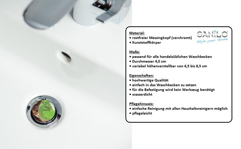 passend f/ür alle handels/üblichen Waschbecken Waschbeckenst/öpsel Hot Stones hochwertige Qualit/ät ✶✶✶✶✶