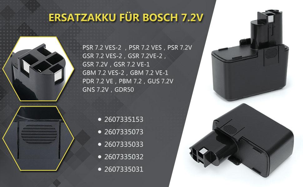 PSR 7.2 VES-2 7,2V GBM 7.2 VES-2 GSR 7.2 V GDR 50 GSR 7.2 VES-2 Akku f/ür Bosch GBM 7.2 NI-MH 2000 mAh GUS 7.2 V GBM 7.2 VE-1 GSR 7.2 VPE-2 GNS 7.2 V PSR 7.2 VES GSR 7.2 VE-2 PBM 7.2