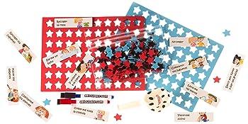 Tablica nagradzania, zabawka, edukacyjna, dzieci, magnesy, markery, gwiazdy, balon, aeioubaby