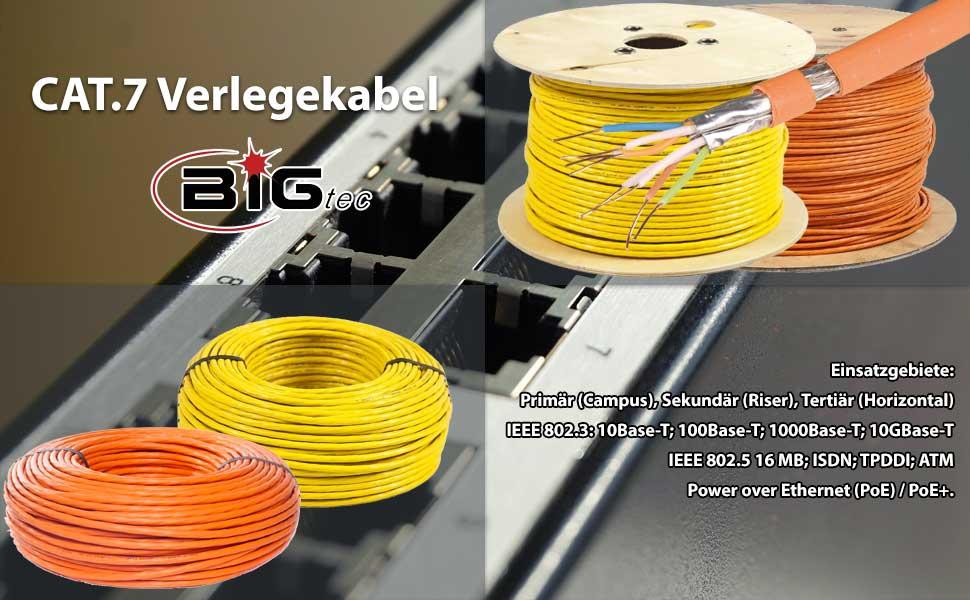 Bigtec Cat 7 Netzwerkkabel Verlegekabel Lan Kabel 250m Elektronik