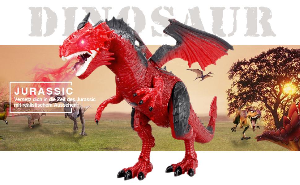 Baztoy Ferngesteuertes Dinosaurier Spielzeug Elektronik Dino Spiele Fernbedienung Tier Kinderspielzeug mit Gehen, simuliertem Brüllen, Sprühen,