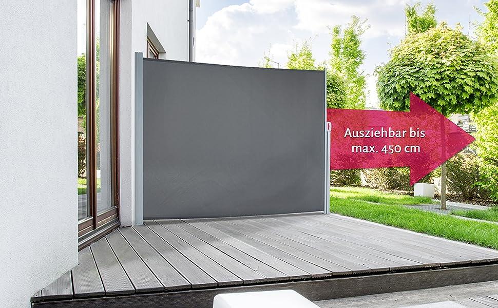 2019 rabatt verkauf weit verbreitet Bestpreis empasa Seitenmarkise Start Sichtschutz Sonnenschutz, Höhe 160 oder 180 cm,  Länge bis max. 450 cm.