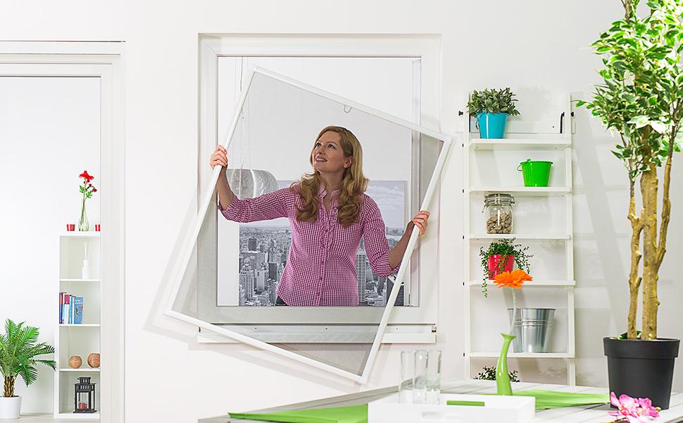 Insektenschutz Fenster Basic 120 x 140 cm mit Alurahmen in Weiß ...