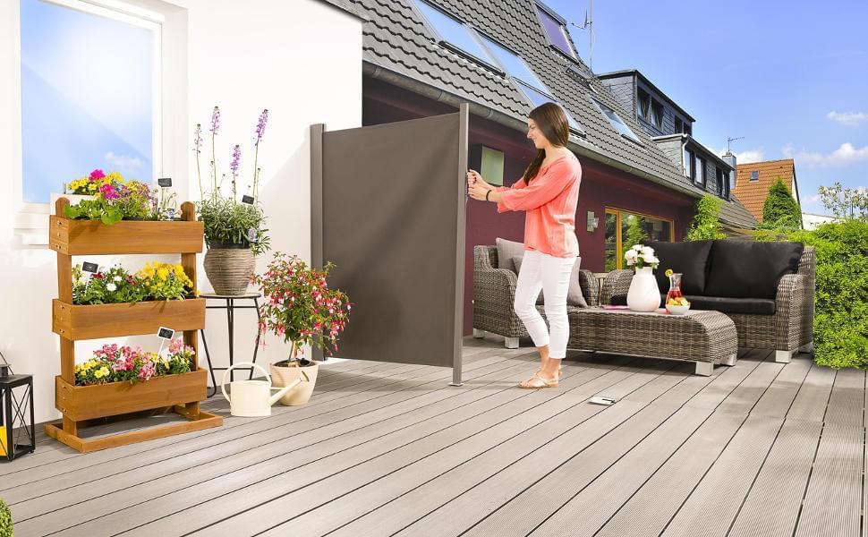 heißer verkauf authentisch Herbst Schuhe wähle echt empasa Seitenmarkise 'slim' Sichtschutz Sonnenschutz Windschutz in  verschiedenen Größen anthrazit oder cremeweiß