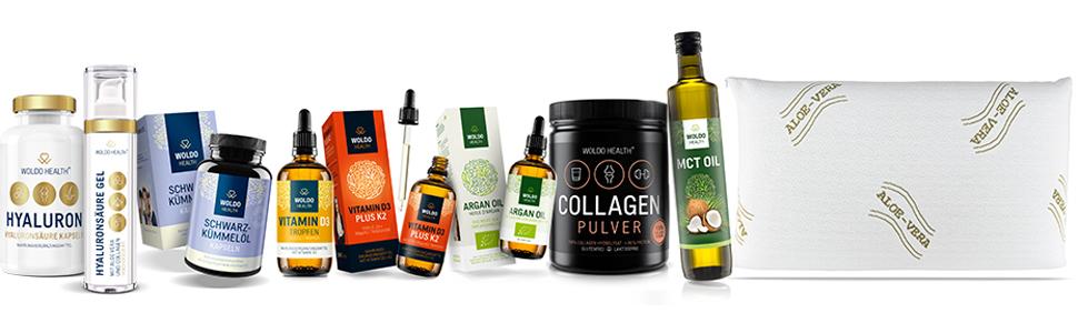 WoldoHealth Nahrungsergänzung Hyaluronsäure Schwarzkümmelöl Vitamin D3 K2 Arganöl Collagen MCT Öl