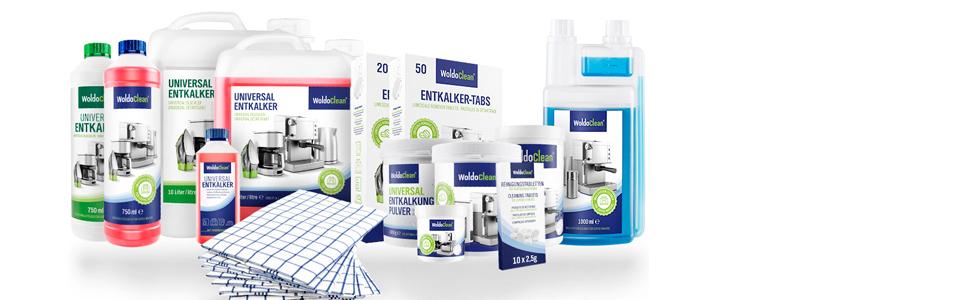 Reinigungsmittel Entkalker Milchsystemreiniger Reinigungstabletten Geschirrtücher Entkalker-Tabs