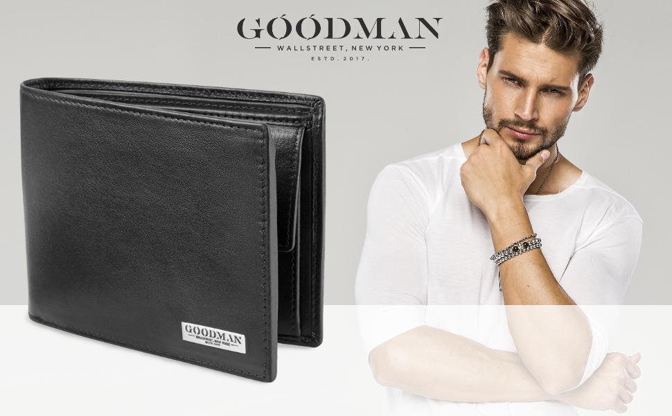 b9516940a9e97 GOODMAN Wallstreet Geldbörse aus Nappa Leder mit Tüv geprüftem RFID und NFC  Schutz