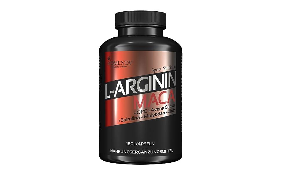 l-arginin arginin maca extrakt kapseln tabletten pulver hochdosiert potenz muskelaufbau biomenta