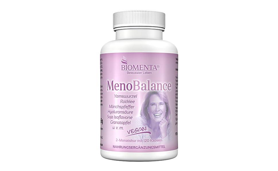 meno balance menopause wechseljahre kapseln tabletten yamswurzel rotklee hyaluronsäure biomenta
