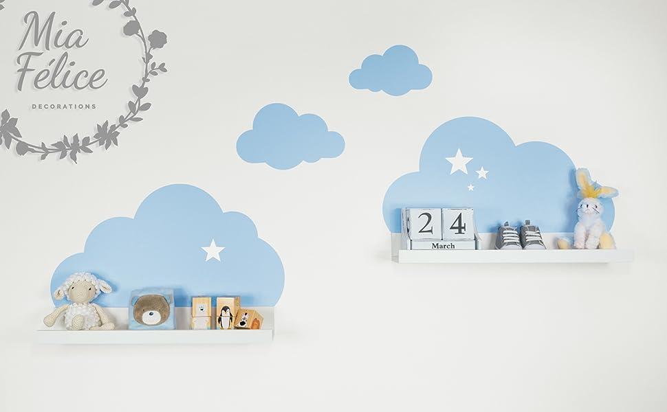 Wandtattoo wolken in blau mit sterne für ikea regalbrett ribba