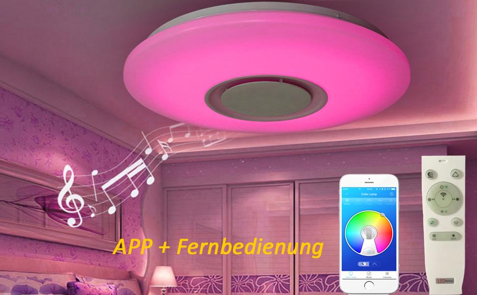 Horevo Deckenlampe Mit Integriertem Bluetooth Lautsprecher Und Rgb