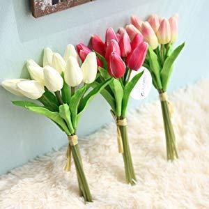 Veryhome K/ünstliche Blumen Gef/älschte Blume Tulpe Latex Material Real Touch f/ür Hochzeitszimmer Home Hotel Party Dekoration und DIY Decor