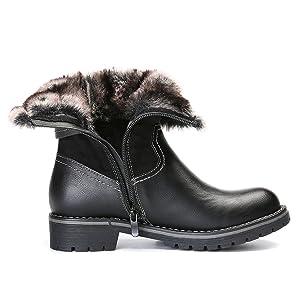 gracosy Leder Winterstiefel Damen Wasserdicht Warm Schneestiefel Outdoor Schneefest Warm Gepolsterte Schuhe mit Great Warm Pelzschicht Im Inneren 2019
