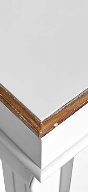 Butlers Rahmen Umrandung Holz Vintage Shabby Chic Weiß Umrandung Kamin Feuer Regal Ablage Füße Retro