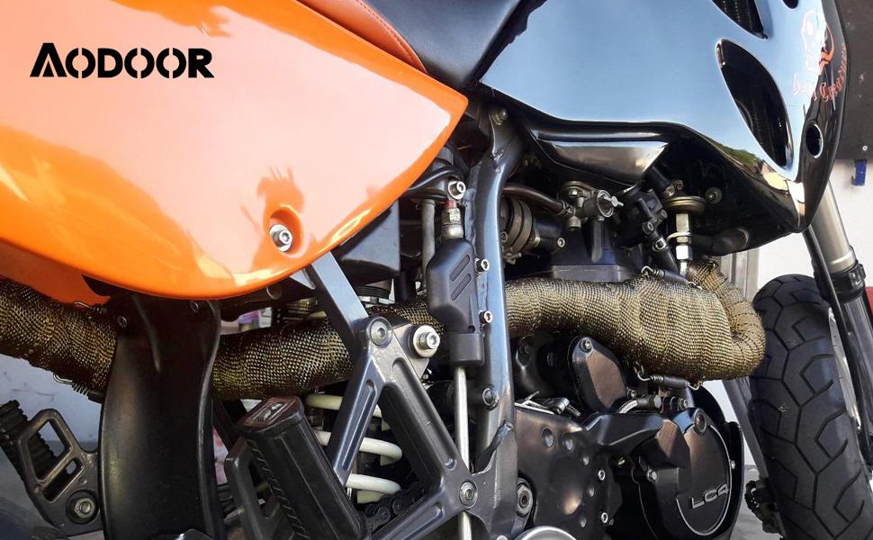 Aodoor Hitzeschutzband Auspuffband Motorrad Hitzeschutzband 10m Mit Kabelbinder Für Motorrad Fächerkrümmer Thermoband Krümmerban Auto