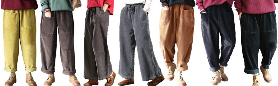 Pantaloni larghi per autunno e inverno, vintage, con cintura elastica, pantaloni larghi casual