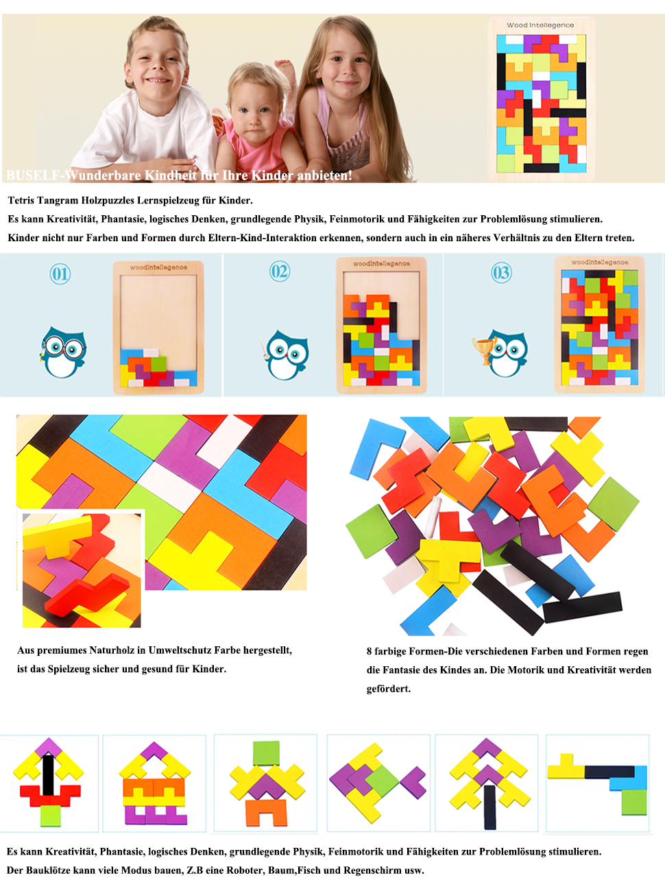 buself tetris holzpuzzle spielzeug ab 3 jahren jungen tetris tangram holzpuzzles lernspiele ab 2. Black Bedroom Furniture Sets. Home Design Ideas