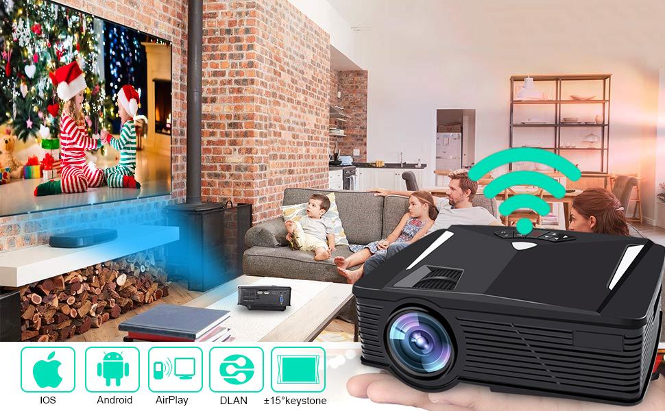 Tablette an Projektor befestigt