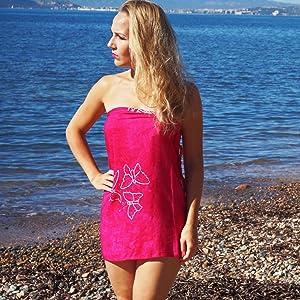 Sarong Strandtuch mit Schnalle Sommer Handtuch 155x115cm Hippie Sommer Kleid Sauna Hamam Lunghi Bikini Coverup Strandkleid MANUMAR Damen Pareo blickdicht 175x115cm und 225x115cm XXL /Übergr/ö/ße