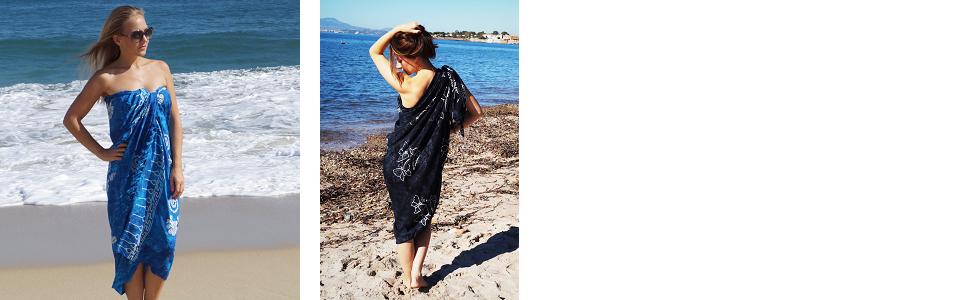 MANUMAR Damen Pareo blickdicht Sarong Strandtuch mit Schnalle Hippie Sommer Kleid Sauna Hamam Lunghi Bikini Coverup Strandkleid Strandtuch Bademode Sommer Handtuch 225x115cm XXL /Übergr/ö/ße