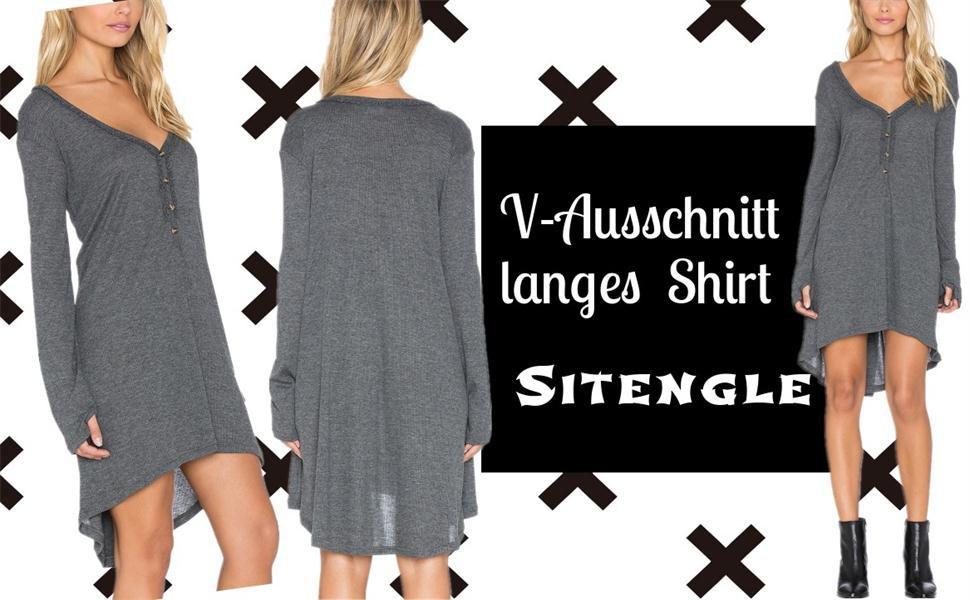 sitengle Damen Langarmshirt Kleider V-Ausschnitt T Shirt Bluse ... 48921e10a8