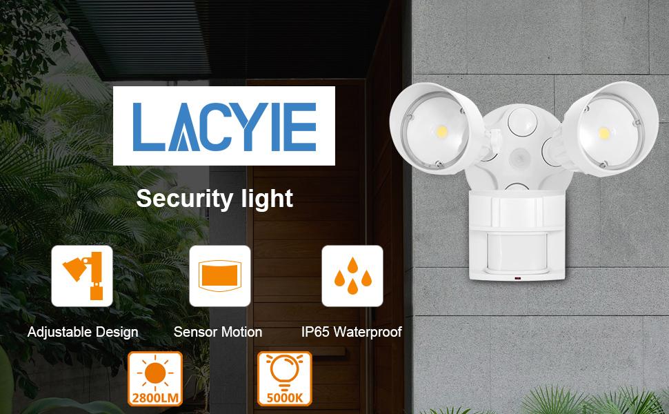 LACYIE LED Strahler mit einstellbarem Bewegungsmelder 2800LM IP65 Wasserdichtes Flutlicht 5000K Tageslichtwei/ß Wandlampe f/ür Draussen Garten Led Aussenstrahler mit Bewegungsmelder Hinterh/öfe