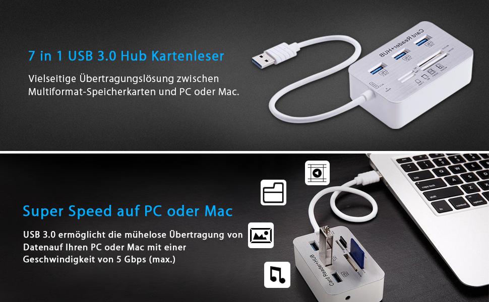 Micro USB 3.0 Kartenleser, Grehome Universal USB Hub 3: Amazon.de ...