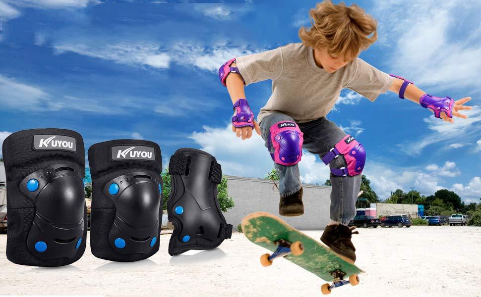 Skaten Roller Kinder/&Erwachsene Knieschoner Set,Sch/ützerset 6 in 1 mit Knie-Ellbogen-Handgelenkschoner Radfahren Skateboard Schutzausr/üstung verstellbare Handgelenkschoner,Rollerblading