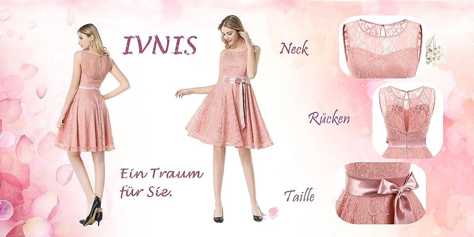 IVNIS Damen Vintage Floral Kleider Brautjungfernkleider Spitzenkleid ...