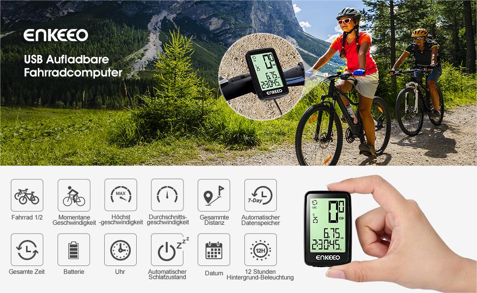 Fahrradcomputer Großes Display : Enkeeo aufladbare fahrradcomputer 1205 fahrradtacho wasserdicht